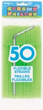50 Neon Green Flexible Drinking Straws